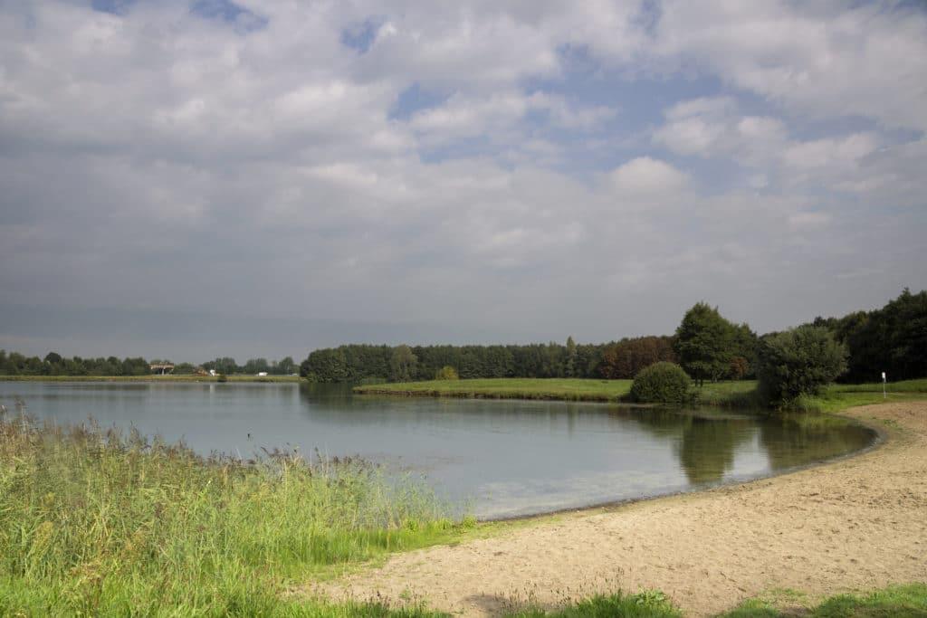 Borrow pit near the Dutch village Herwijnen along the A15 highway